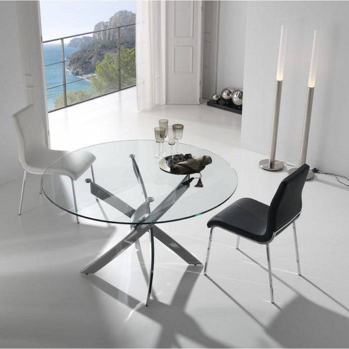 Table m tal et verre design varela la boutique design - Table verre et metal ...
