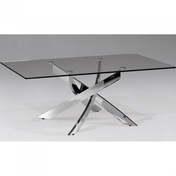 Table m tal et verre design varela la boutique design - Table design acier ...